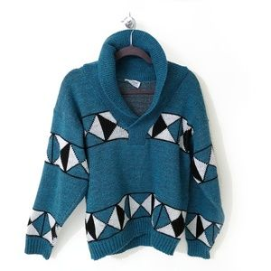 Vintage 80s Sweater | Shawl Collar Pullover